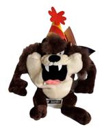 "Taz Looney Tunes Tasmanian Devil Birthday Hat 11"" Beanbag Plush Vintage ... - $29.47"