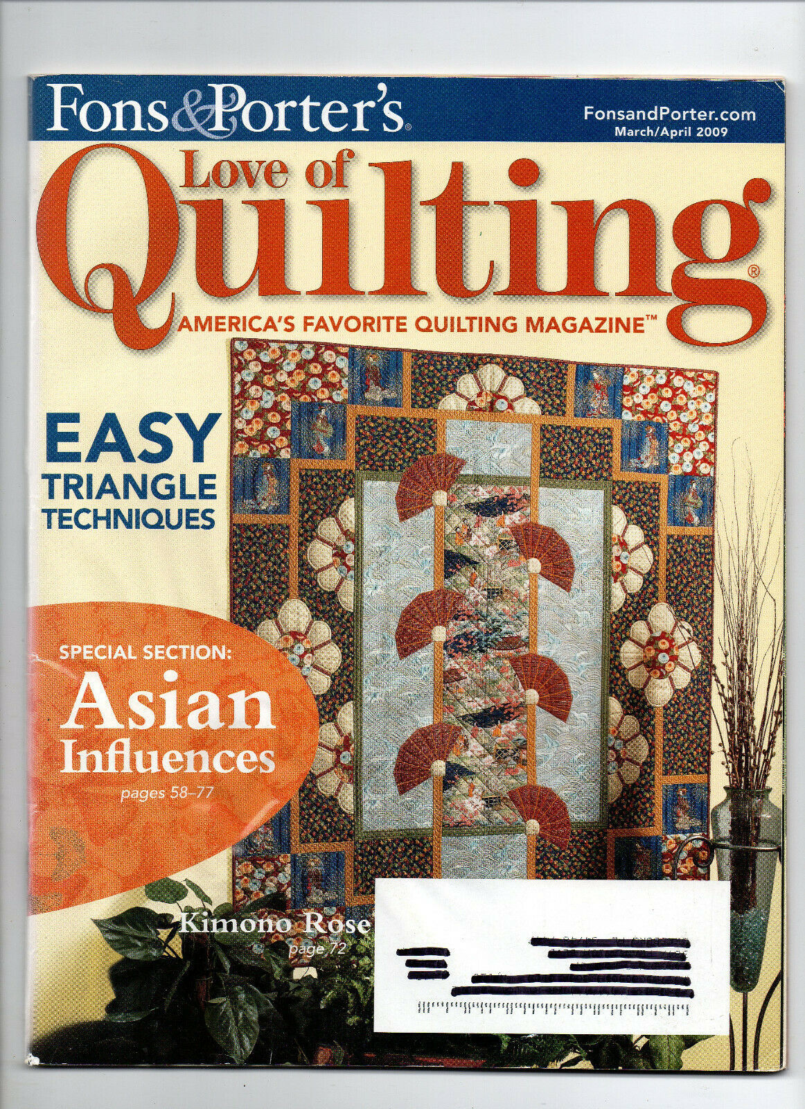 Primary image for 2009 March-April/Fon's & Porter's Love of Quilting/Preowned Magazine