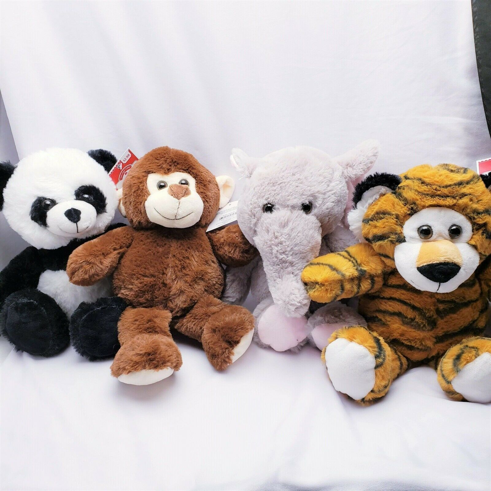 Primary image for Tiger Elephant Panda Monkey Plush Stuffed Animal Set (4 Pack) Easter Jungle