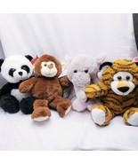 Tiger Elephant Panda Monkey Plush Stuffed Animal Set (4 Pack) Easter Jungle - $22.27