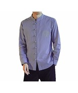 [#3]Mens Standing Collar Cotton and Linen Chinese Long Sleeve Kungfu Clo... - $34.05