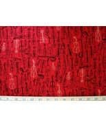 1/2 yd Music/string instruments on red quilt fabric -free shipping - $10.95