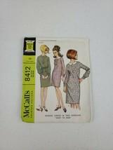 1966 Vintage MCCALL'S 8412 Misses' Dress 2 Versions Size 14-16 Bust 34-36 - $7.50