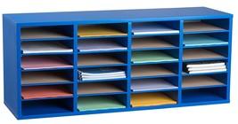 AdirOffice Wood Blue 24 Compartment Adjustable Literature Organizer  - $99.99
