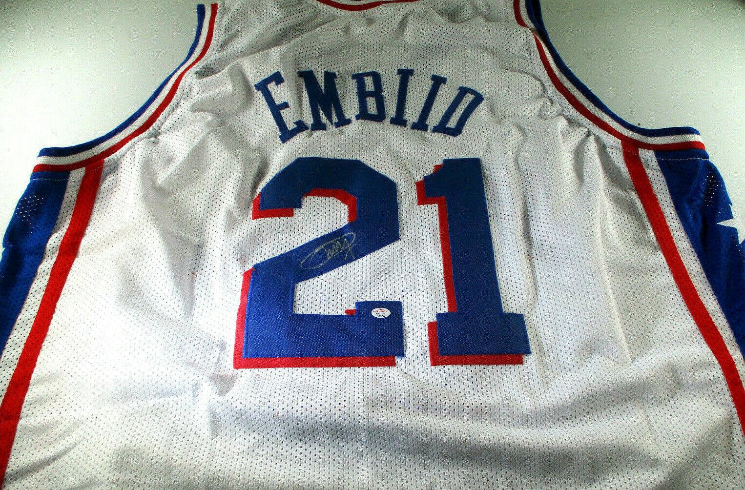 JOEL EMBIID / 2021 NBA ALL-STAR / AUTOGRAPHED 76ERS WHITE CUSTOM JERSEY / COA