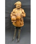 Antique 1900 German Black Forest Carved Wood Figural Chamois Horn Hook Rack - $400.00