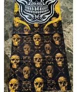 YELLOW SKULL PATTERN BLACK BANDANA FACE MASK NECK SHIELD BIKER CLUB FACE... - $9.89