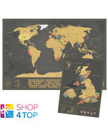 WORLD AND UK SCRATCH MAP SET TRAVEL TRACKER JOURNAL WALL POSTER BLACK NEW - $34.63