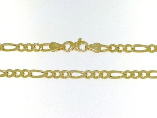 18K GOLD FIGARO CHAIN 2.5 MM WIDTH 25 IN LENGTH ALTERNATE NECKLACE MADE IN ITALY