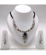 Set Thread String Necklace Earring Jhumki Silver Oxidized Jewelry Tribal... - $7.91