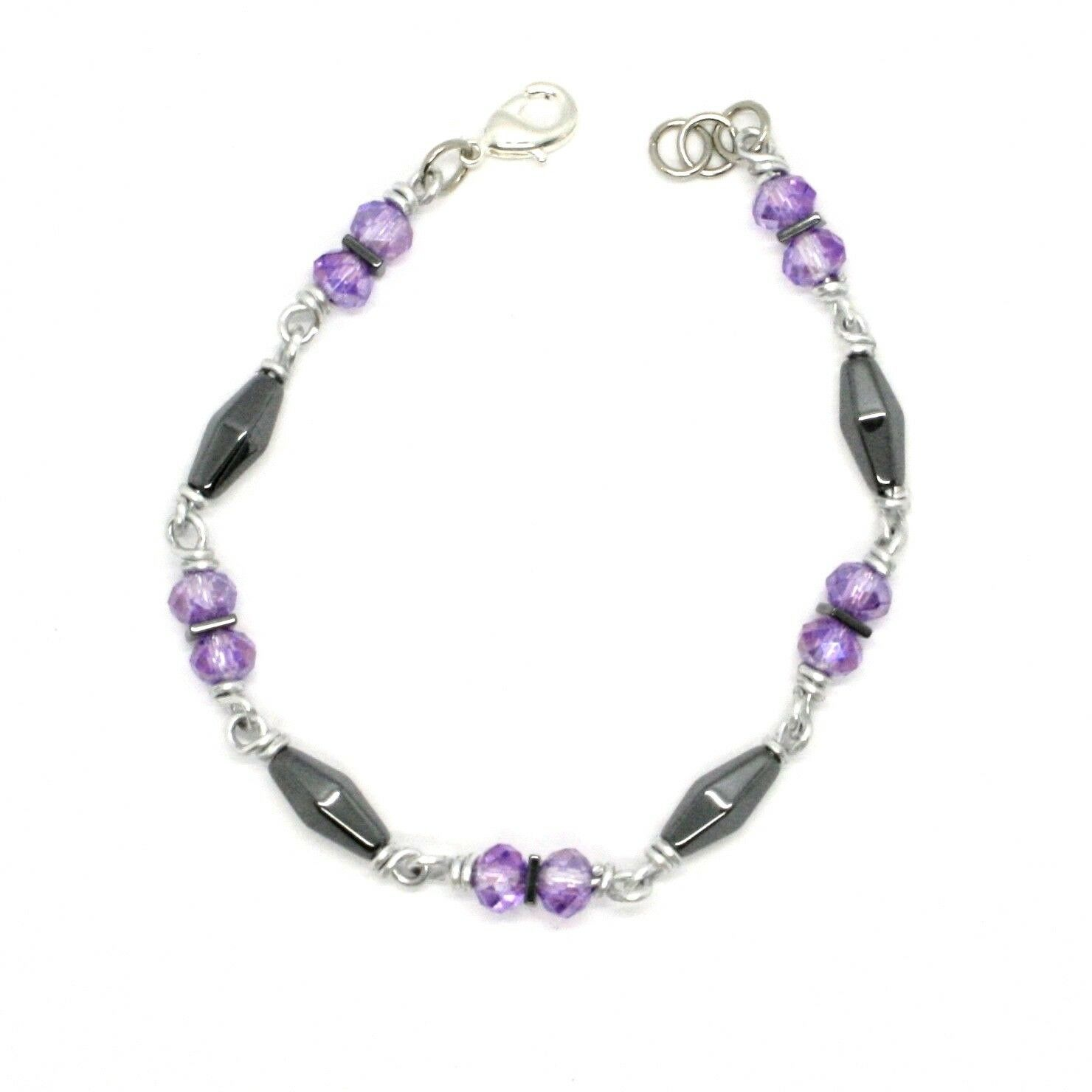 Bracelet the Aluminium Long 19 Inch with Hematite and Crystal Purple