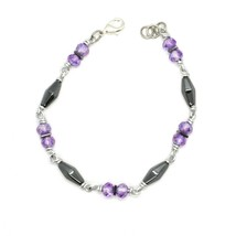 Bracelet the Aluminium Long 19 Inch with Hematite and Crystal Purple image 1