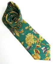Lands End silk neck tie teal batik golden yellow floral pattern 3.8in x ... - $23.99