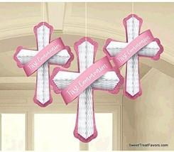 First Communion Cross Party Decoration Pink Honeycomb Religous Decorations 3PCS - $11.83