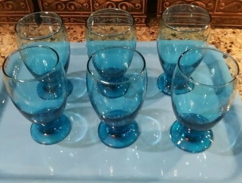 Primary image for (6) Cristar Sky Blue Lexington Footed Water Goblets 12 oz  No toppling w wine!