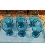 (6) Cristar Sky Blue Lexington Footed Water Goblets 12 oz  No toppling w wine! - $19.79