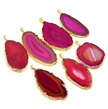1 Pink Agate Pendant Plated Gold  Exclusive COA AM8B9-05 - $32.69