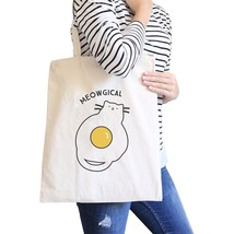Meowgical Cat And Fried Egg Natural Canvas Bags - $14.99