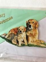 Golden Retriever Merry Christmas Card VTG in original envelope Dog Puppy... - $22.30