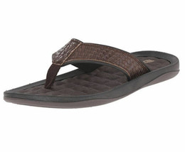 Brand New Kenneth Cole Reaction Men's Leather Flip Flop Sandal - Brown