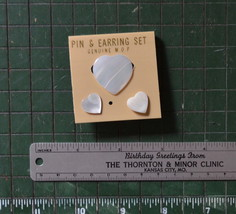 vintage pin & earring set mother of pearl heart new on card - $12.86