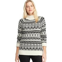 NWT CHAPS Mockneck Ribbed Soft & Cozy Winter Sweater -Black & White Fairisle 2XL - $64.95
