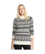 CHAPS Mockneck Ribbed Soft & Cozy Winter Sweater -Black & White Fairisle... - $74.95