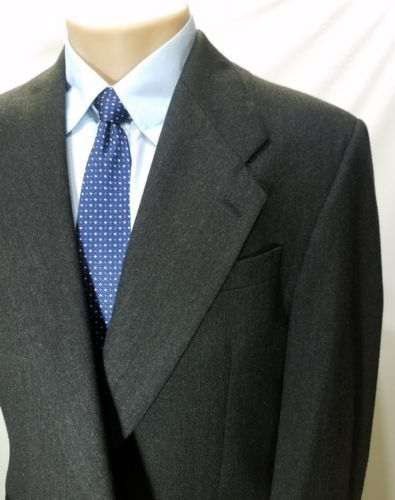 YVE ST.GERMAIN MEN'S SPORT COAT BLAZER CHARCOAL BLACK PURE WOOL 2 BUTTONS 48R