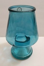 """Teal green raw Glass 7"""" h Votive Candle Holder inner circle 1.5"""" - $16.80"""