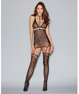 LACE &FISHNET GARTER DRESS  ATTACHED NECK COLLAR THIGH HIGH STOCKINGS & ... - €21,22 EUR+