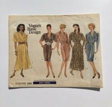 Vintage Vogue 2403 Basic Design Shawl Collar Wrap Dress 6 8 10 Uncut Pat... - $15.43