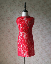 RED Lace Flower Girl Dress Short Straight Red Girl's Birthday Party Dresses NWT image 2