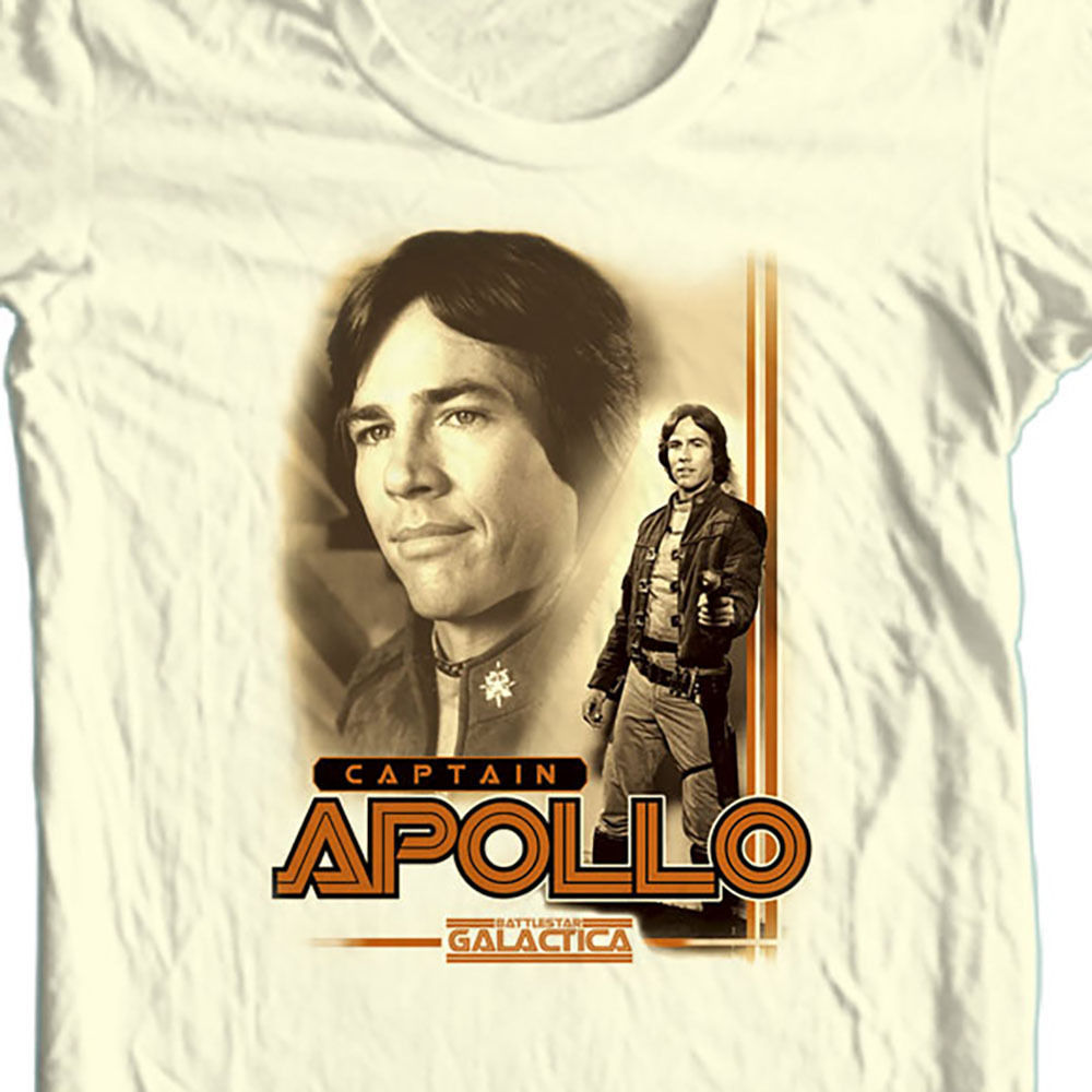 Battlestar galactica tshirt captain apollo white graphic tee original tv series 70 s