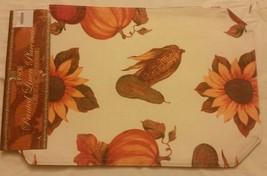 """Set Of 2 Linen Fabric Placemats 12"""" X 18"""" Sunflowers & Pumpkin By Bh - $9.89"""