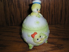 LEFTON  Chick Easter Egg  Trinket Box  Bisque Porcelain XX - $12.99
