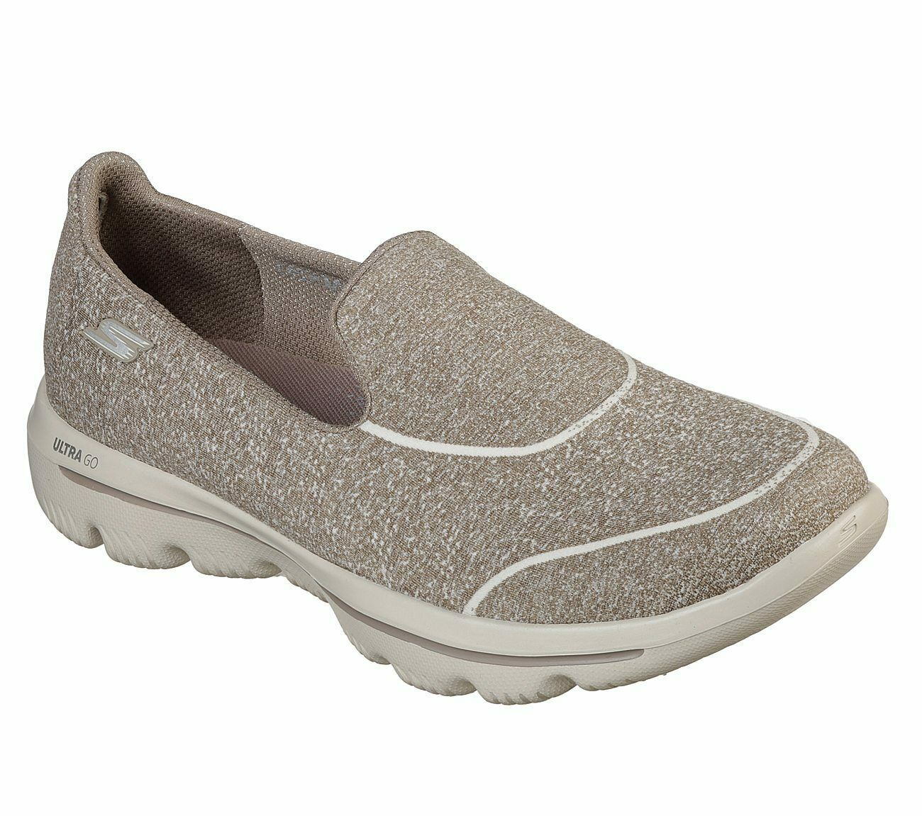 Skechers Shoes Taupe Go Walk Women Super Suck Soft Casual Slip On Comfort 15732