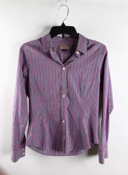Pink Gray Fuchsia Vertical Striped Long Sleeve Americana Blouse Size 10