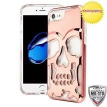 For APPLE iPhone 8/7 Rose Gold Plating/Clear SKULLCAP Lucid Hybrid Case ... - $12.23