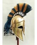 Medieval Ancient Greek Corinthian Helmet With Blue & Brown Plume Sca Lar... - $85.00