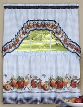 "3 Pc Curtains Set: 2 Tiers & Swag (57""x30"") Golden Delicious Apples by Achim - $16.82"