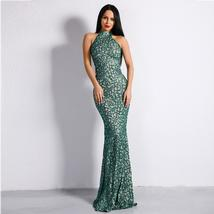 Celebrity Style Sleeveless Green Halter Flash Sequined Elegant Bodycon Dress image 1
