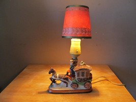 Vintage Ceramic Stagecoach Electric Table Lamp~w/Vintage Shade~Cloth Cor... - $29.70