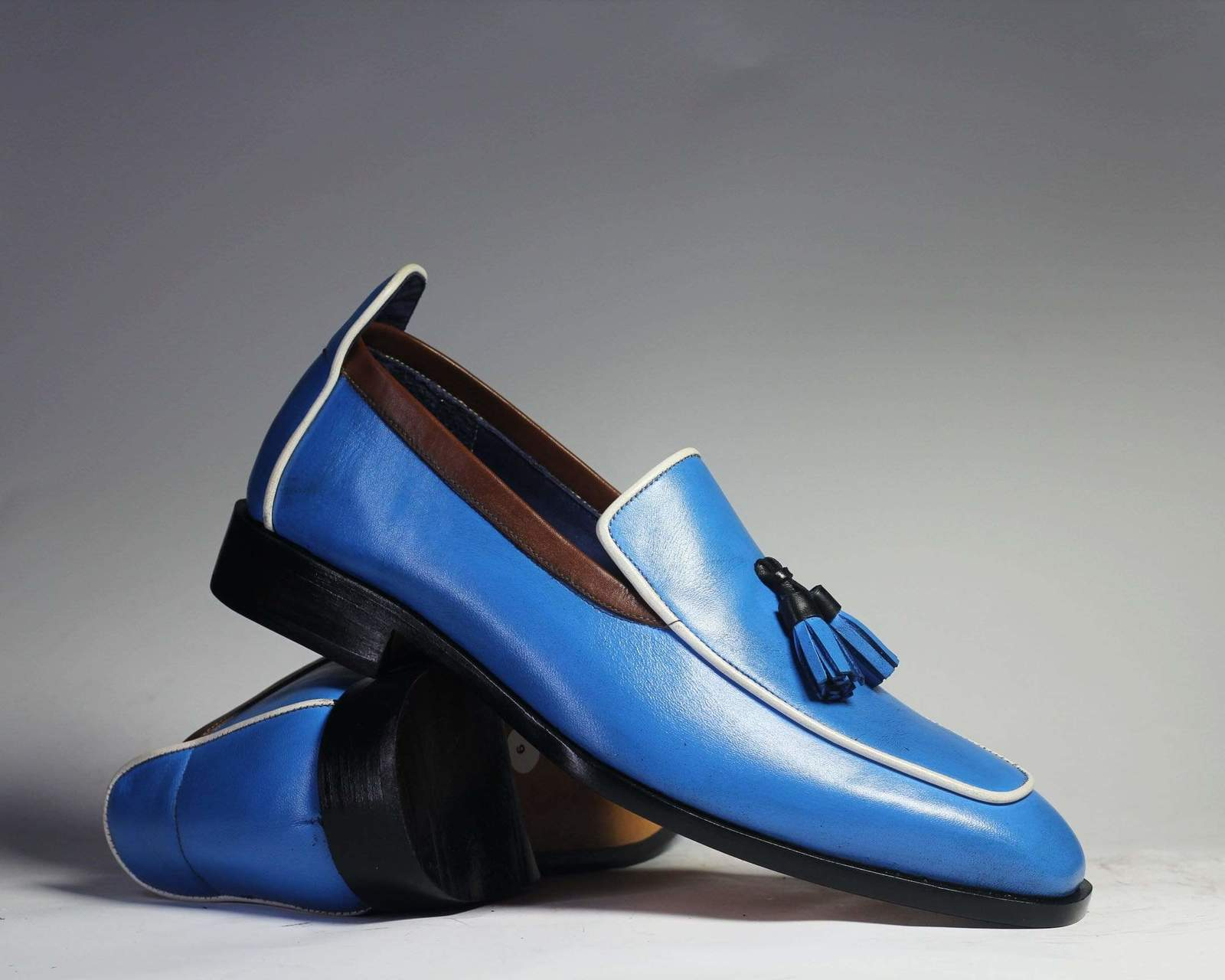 Primary image for Bespoke Blue Tussle Leather Loafers for Men's