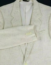 Jordache Sport Coat Mens Size 42 Long Two Button Ivory or Beige Linen Blend - $54.40