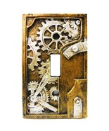 4.25 Inch Resin Steampunk Light Switch Plate Cover, Gray/Gold - $9.89