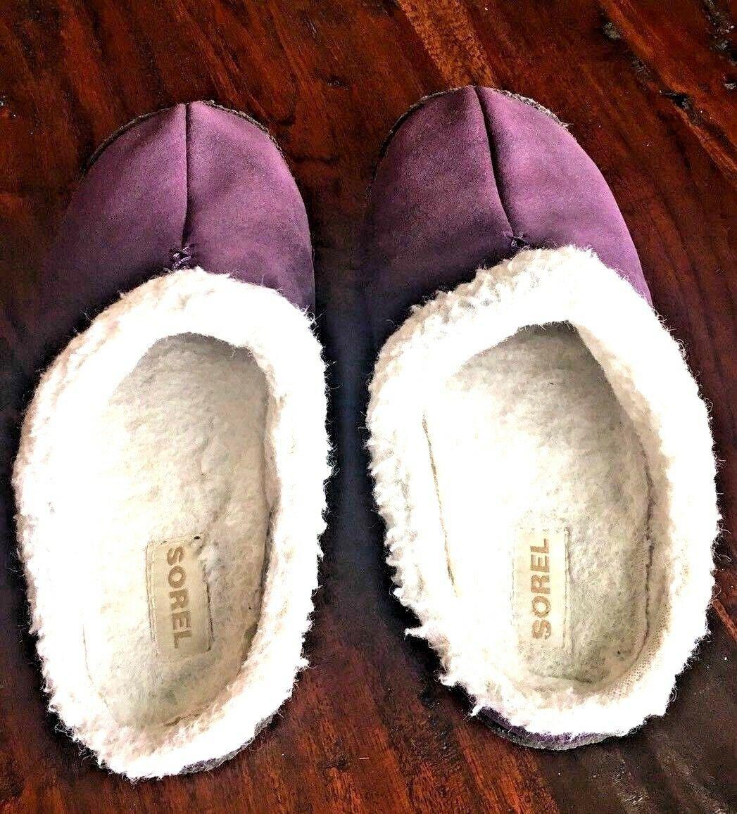 SOREL 9381 Womens Nakiska LILAC Purple Suede Clog Slippers Shoes 6 M #176 image 3