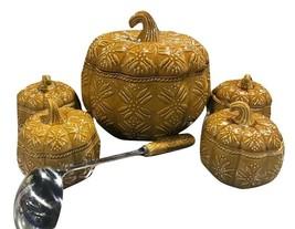 Temp-tations Old World 4 qt. Embossed Pumpkin Tureen w/ Ladle & 4 Covere... - $128.69