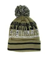 New Orleans Digital Pattern Adult Size Winter Knit Pom Beanie Hat (Khaki) - $12.95