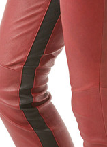 Lucky Stripe Leather Pants Maroon Colour Mono ectric, Women Wasit Belted Pants - $179.99+