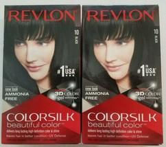 2 Revlon ColorSilk Beautiful Color Permanent Hair Color #10 BLACK New  - $9.89